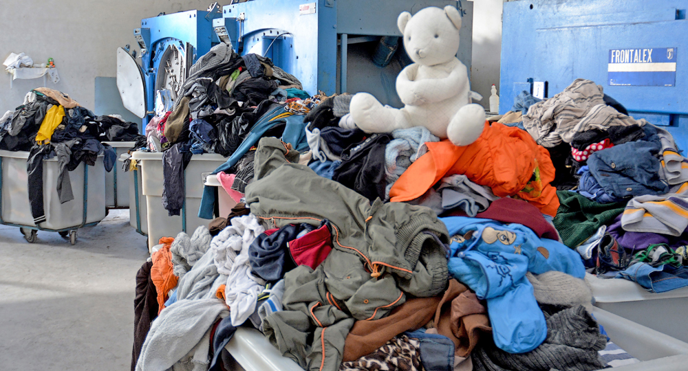 Commercial laundry facility located in Lesvos. (Photo: Dirty Girls of Lesvos Island)