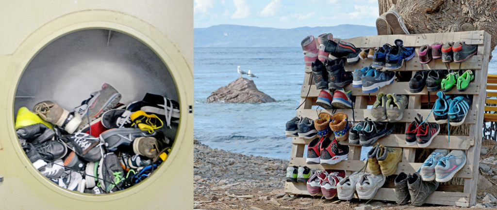 Used shoes in good condition are washed and redistributed. (Photo: Dirty Girls of Lesvos Island)